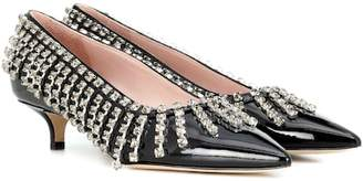 Christopher Kane Crystal Fringe patent leather pumps