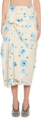 Marni Floral Painted Gathered Poplin Skirt