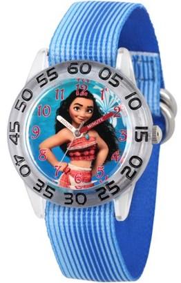 Disney Moana Girls' Clear Plastic Time Teacher Watch, Blue Stripe Stretchy Nylon Strap