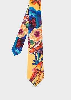 Paul Smith Men's Yellow 'Ocean' Print Silk Tie