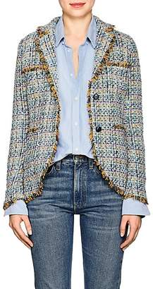 Barneys New York Women's Cotton-Blend Tweed Two-Button Blazer - Blue