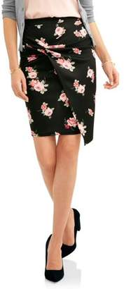 No Comment Women's Pull On Knotted Scuba Skirt