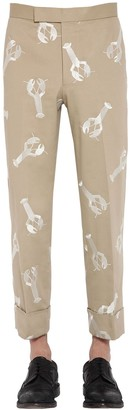 Thom Browne Lobster Embroidered Cotton Twill Pants