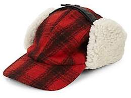 Crown Cap Men's Plaid & Shearling Fur Trapper Hat
