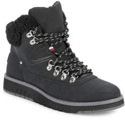 Tommy Hilfiger Faux Fur-Trimmed and Leather Cold Weather Boots