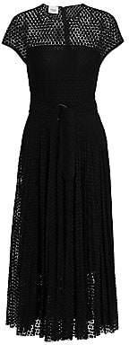 Akris Punto Women's Dot Lace Belted Cap-Sleeve Silk-Trim A-Line Dress