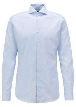 BOSS Hugo Tailored slim-fit shirt in crease-free structured cotton 15.5 Light Blue