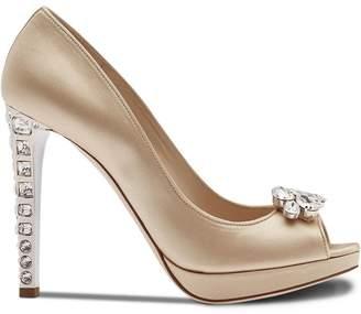 Miu Miu crystal embellished peep toe pumps