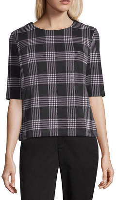 Liz Claiborne Elbow-Sleeve Houndstooth Knit Top
