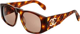 Chanel Brown Wide Acrylic Sunglasses