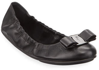 Salvatore Ferragamo Lizink Leather Vara Bow Ballet Flats