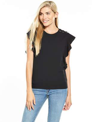 Very Eyelet Lace Up Frill Crepe Top - Black