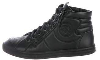 Chanel CC Leather High-Top Sneakers