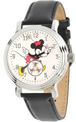 Disney Disney, Articulating Classic Minnie Mouse Red Polka Dot Dress Women's Silver Vintage Alloy Watch, Black Leather Strap