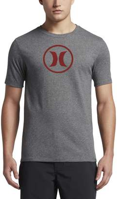 Hurley New Men's Circle Icon Dri-Fit SS Tee Crew Neck Polyester Black
