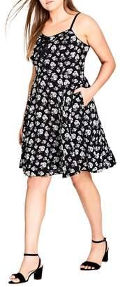 City Chic Deco Floral A-Line Dress