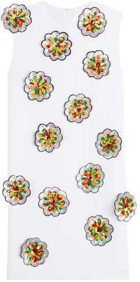 Victoria Beckham Victoria Crepe Shift Dress with Sequin Flower Applique