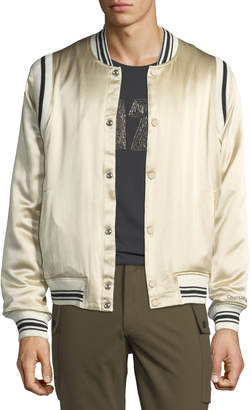 Ovadia & Sons Men's Ball Striped-Trim Silk Bomber Jacket
