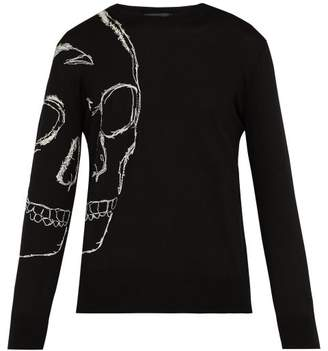 Alexander McQueen Oversized Skull Crew Neck Sweater - Mens - Black Multi