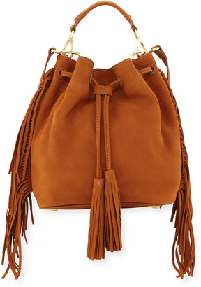 B Brian Atwood Everly Drawstring Leather Saddle Bag with Fringe Trim, Brown $210 thestylecure.com