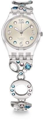 Swatch Stainless Steel Watch with Swarovski Crystals