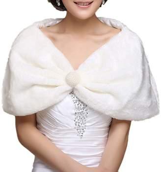 Chickle Women's Fur Pleated Pullover Cape Cloak Wedding Shawl White