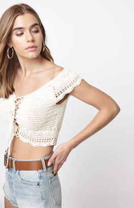 LA Hearts Off-The-Shoulder Crochet Sweater Top