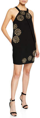 Trina Turk Felisha Halter-Neck Mini Dress w/ Sequin Embellishment & Pockets