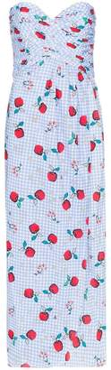 Rebecca De Ravenel apple print sweetheart-neck dress