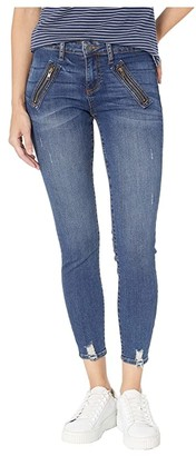 KUT from the Kloth Connie Ankle Zip Front Welt Pocket Skinny Jeans in Pardon w/ Dark Stone Base Wash