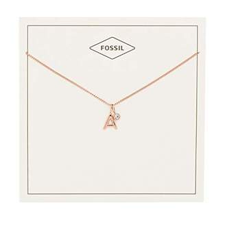 Fossil Women's Letter A -Tone Stainless Steel Necklace