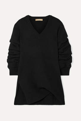 Michael Kors Asymmetric Ruched Cashmere Sweater - Black