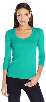 Three Dots Women's 3/4 SLV Scoop Neck