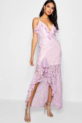 boohoo Boutique Theresa Lace Ruffle Detail Maxi Dress