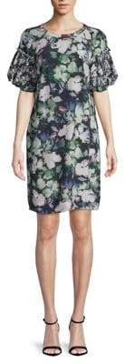 French Connection Dreda Drape Floral Puff Sleeve Shift Dress