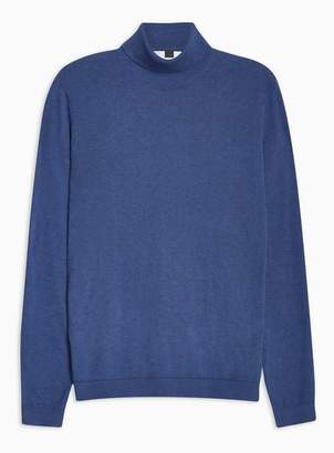 Topman Mens Bright Blue Marl Essential Turtle Neck Sweater
