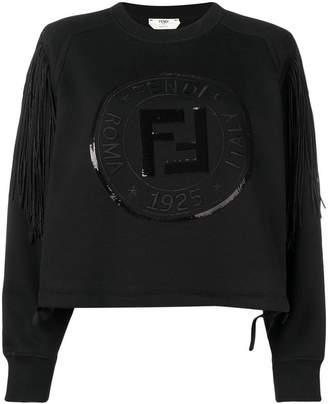 Fendi fringed logo sweatshirt