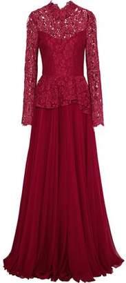Reem Acra Cotton-Blend Corded Lace-Paneled Chiffon Peplum Gown