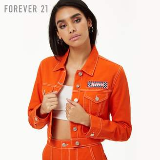 Forever 21 (フォーエバー 21) - Forever 21 コントラストステッチクロップドデニムジャケット