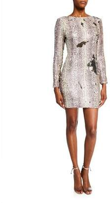 Dress the Population Lola Sequin Python Long-Sleeve Mini Dress