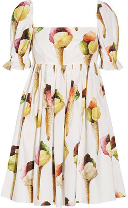 Dolce & Gabbana - Printed Cotton-poplin Mini Dress - White $1,595 thestylecure.com