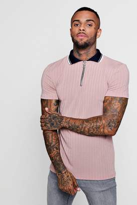 boohoo Ribbed Polo With Contrast Collar And Zip Placket