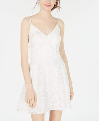 Speechless Juniors' Iridescent Embroidered Fit & Flare Dress