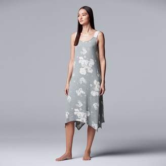 Vera Wang Women's Simply Vera Printed Handkerchief Hem Chemise