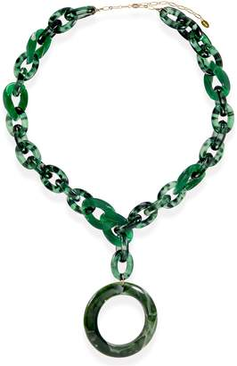 Taolei Green Marble Acetate Chain Link & Disc Drop Statement Necklace