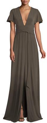 Halston Jersey Flutter-Sleeve Wrap Gown