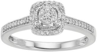 Hallmark Love Found Us Sterling Silver 1/6 Carat T.W. Diamond Cluster Square Halo Ring