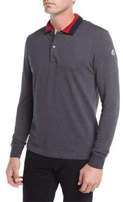 Moncler Long-Sleeve Ribbed-Collar Polo Shirt