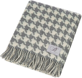 Bronte By Moon Bronte by Moon - Houndstooth Merino Lambswool Throw - Grey