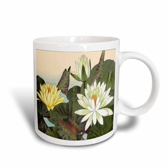 3dRose Pretty Large Pale Yellow Water Lilies, Ceramic Mug, 11-ounce